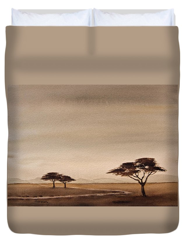 Watercolors Duvet Cover featuring the painting Dusk by Jean Lurssen
