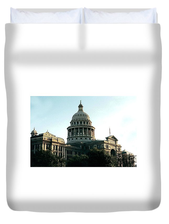 Original Duvet Cover featuring the photograph Early Morning At The Texas State Capital by J D Owen