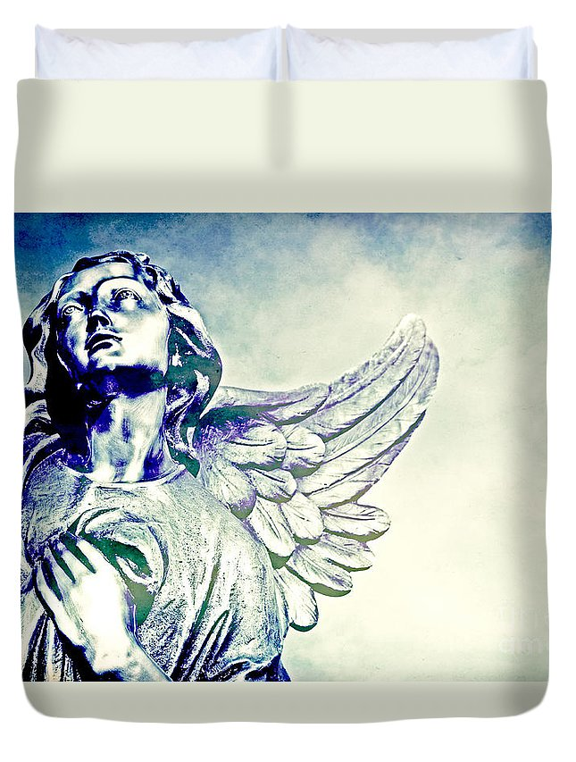 Cemetery Duvet Cover featuring the photograph Earth Angel by Valerie Fuqua