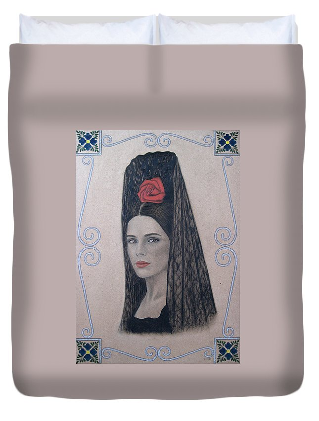 Elena Duvet Cover featuring the painting Elena by Lynet McDonald