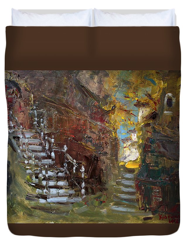 Fall Duvet Cover featuring the painting Fall In Albanian Village by Ylli Haruni