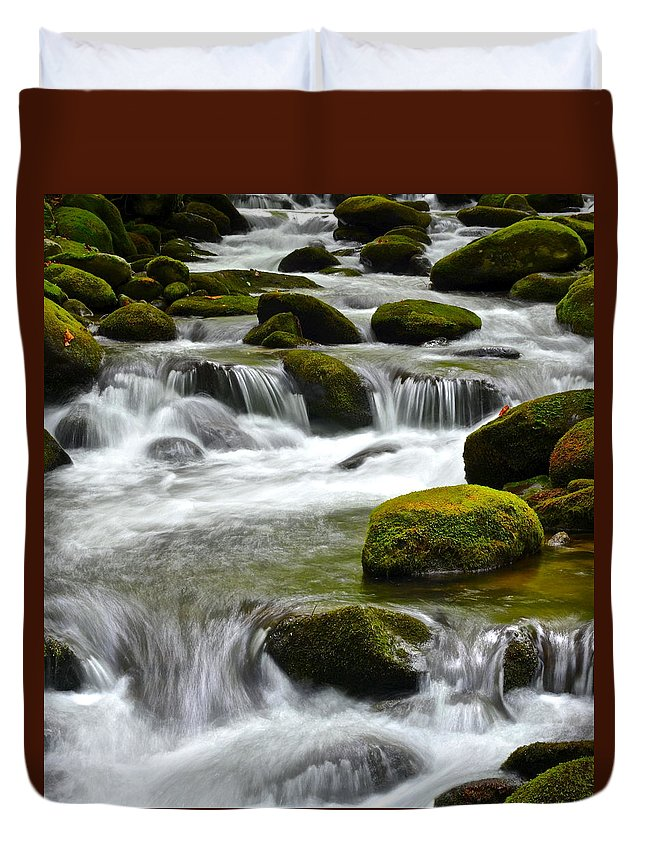 Smoky Duvet Cover featuring the photograph Falling Water by Frozen in Time Fine Art Photography