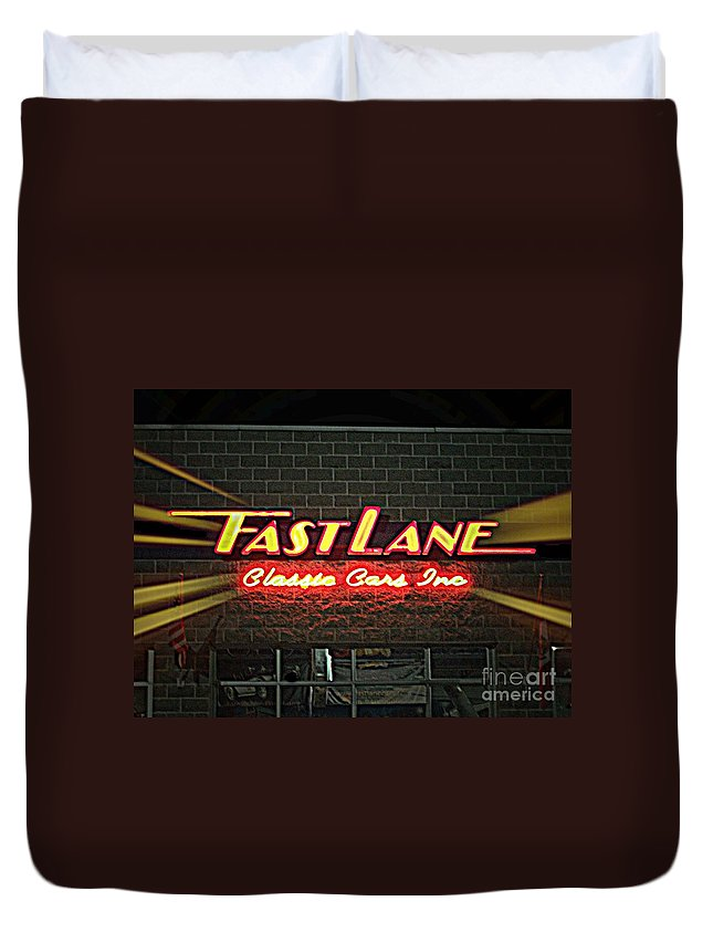 Duvet Cover featuring the photograph Fast Lane In Lights by Kelly Awad