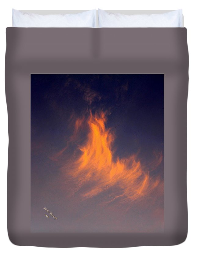 Fire Duvet Cover featuring the photograph Fire In The Sky by Jeanette C Landstrom