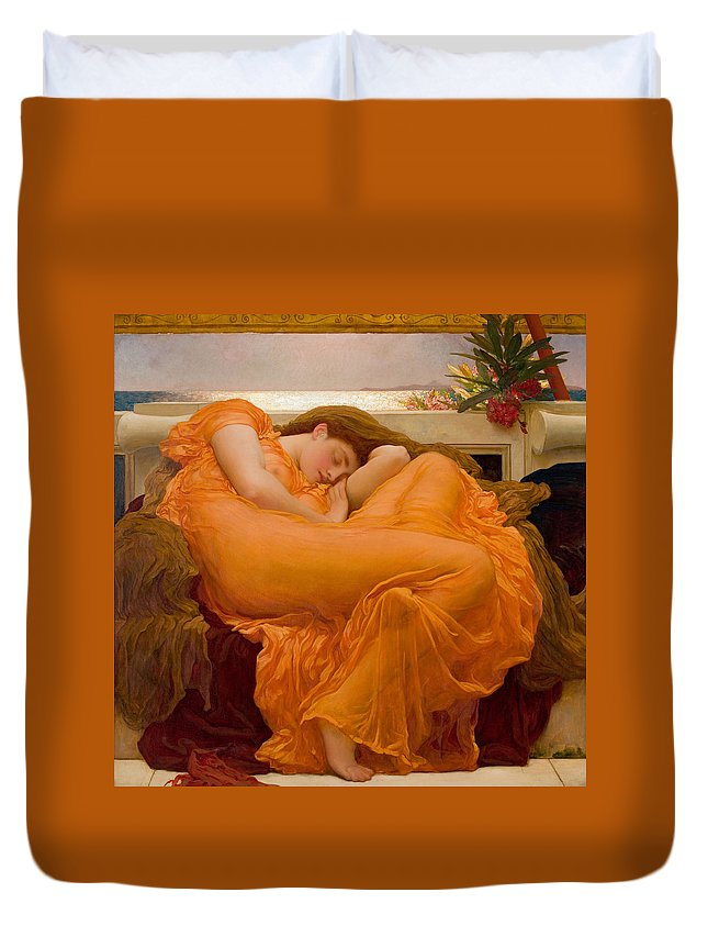 Frederick Leighton Duvet Cover featuring the painting Flaming June by Frederick Leighton