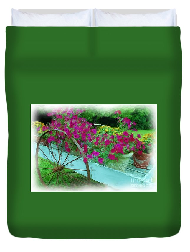 Digital Painting Duvet Cover featuring the photograph Flower Pot 2 by Allen Beatty