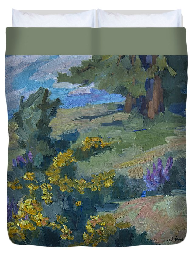 Flowering Meadow Duvet Cover featuring the painting Flowering Meadow by Diane McClary