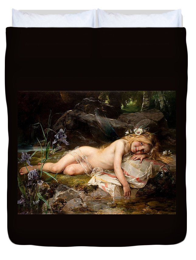 Forest Duvet Cover featuring the painting Forest Nymph by Paul Hermann Wagner