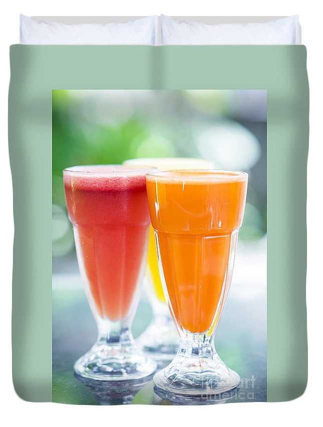 Carrot Duvet Cover featuring the photograph Fresh Orange Carrot And Watermelon Fruit Juice by Jacek Malipan