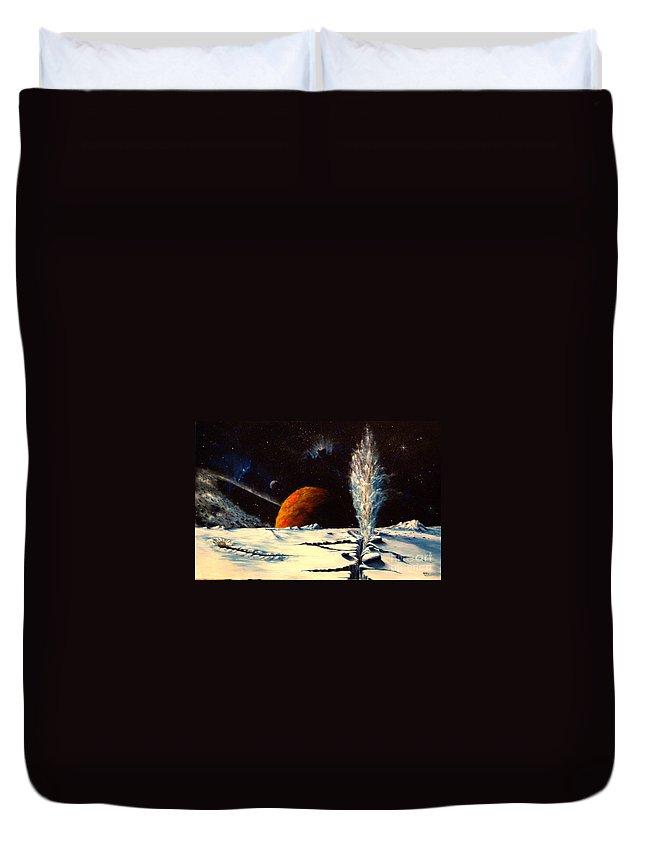 Landscape. Geyser Duvet Cover featuring the painting Frozen Geyser by Murphy Elliott