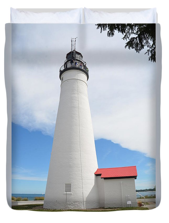 Kates Duvet Cover featuring the photograph Ft Gratiot Lighthouse by Randy J Heath