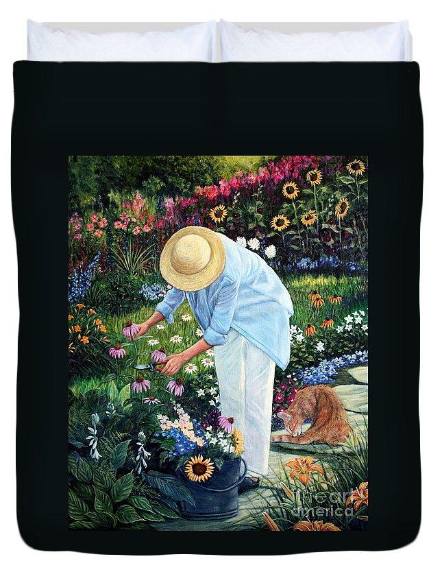 Garden Duvet Cover featuring the painting Gardener's Eden by Joey Nash