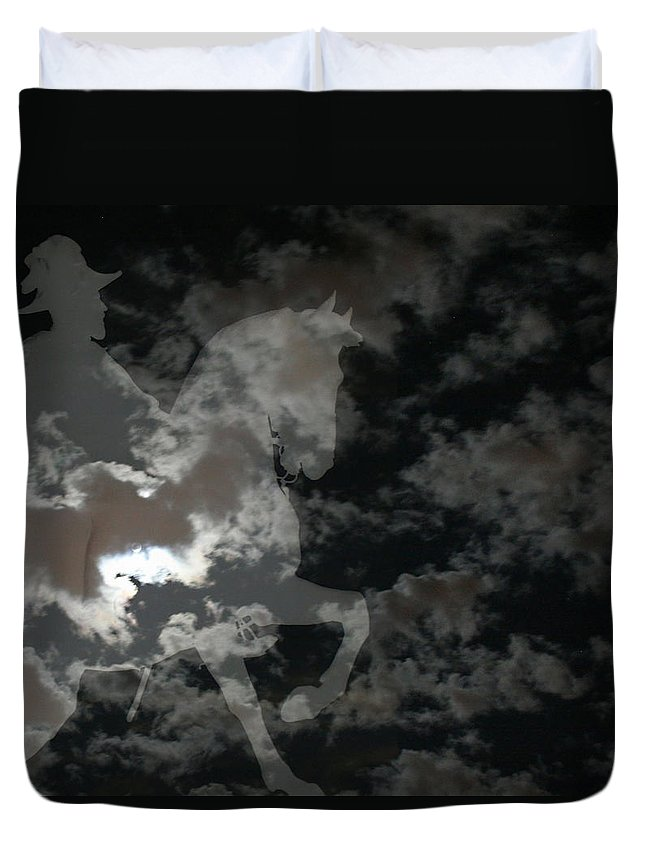 Ghost Rider Duvet Cover featuring the mixed media Ghost Rider by Ellen Henneke
