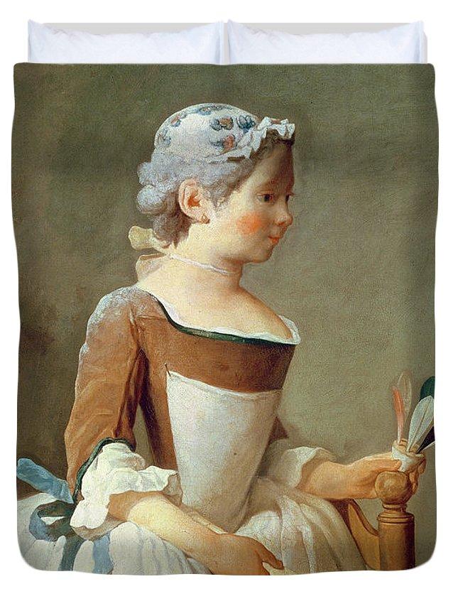 Girl With Racket And Shuttlecock Duvet Cover featuring the painting Girl With Racket And Shuttlecock by Jean-Baptiste Simeon Chardin