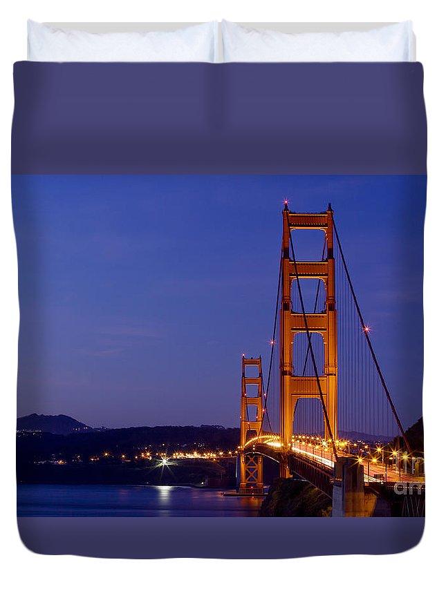 Golden Gate Bridge Duvet Cover featuring the photograph Golden Gate Bridge At Night by B Christopher