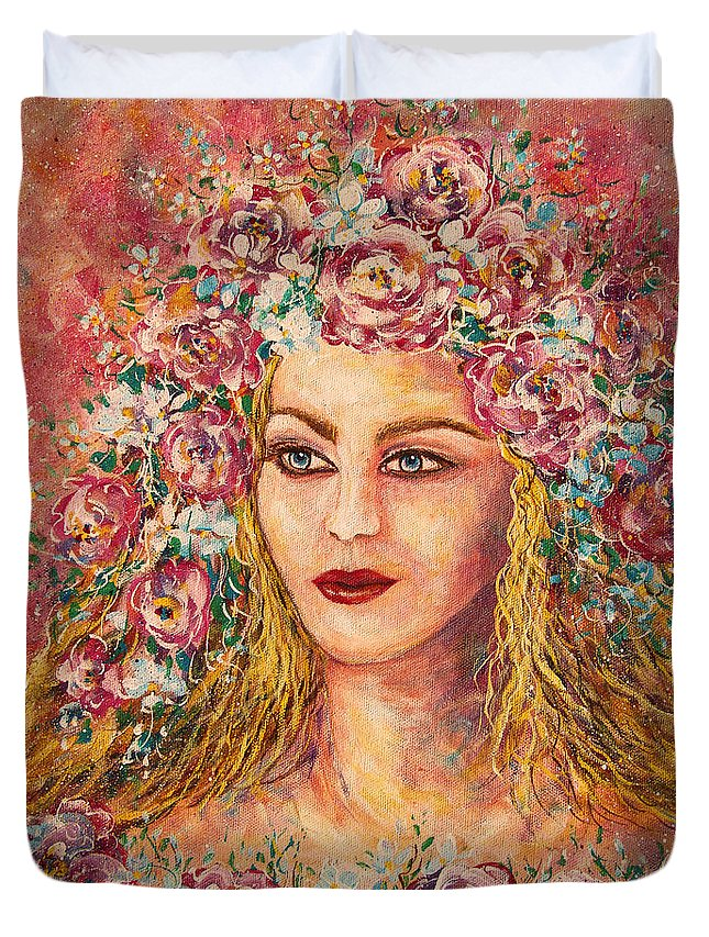 Goddess Duvet Cover featuring the painting Good Fortune Goddess by Natalie Holland
