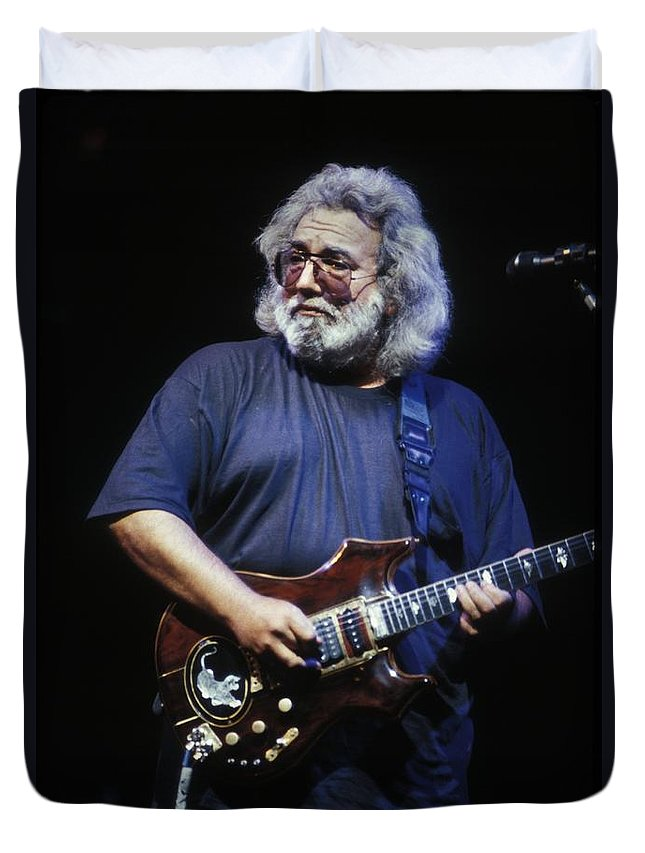 Concert Duvet Cover featuring the photograph Grateful Dead - Jerry Garcia by Concert Photos