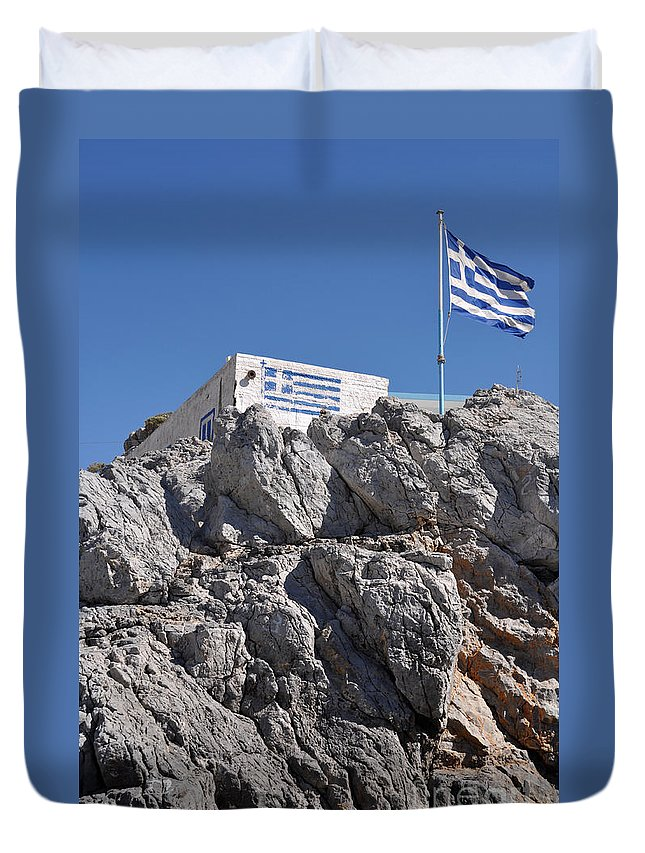 Greek Duvet Cover featuring the photograph Greek House by Luis Alvarenga
