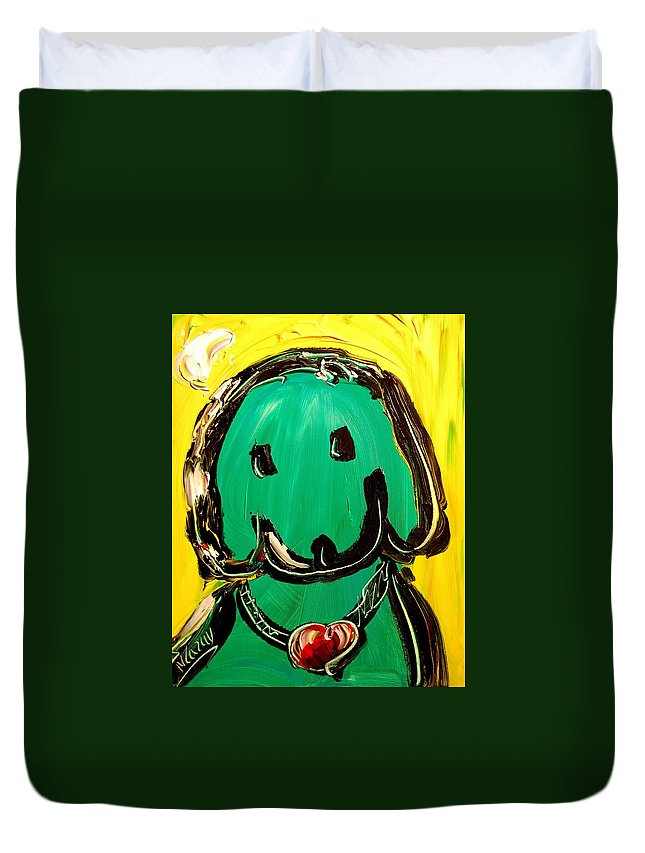 Duvet Cover featuring the painting Green Dog by Mark Kazav