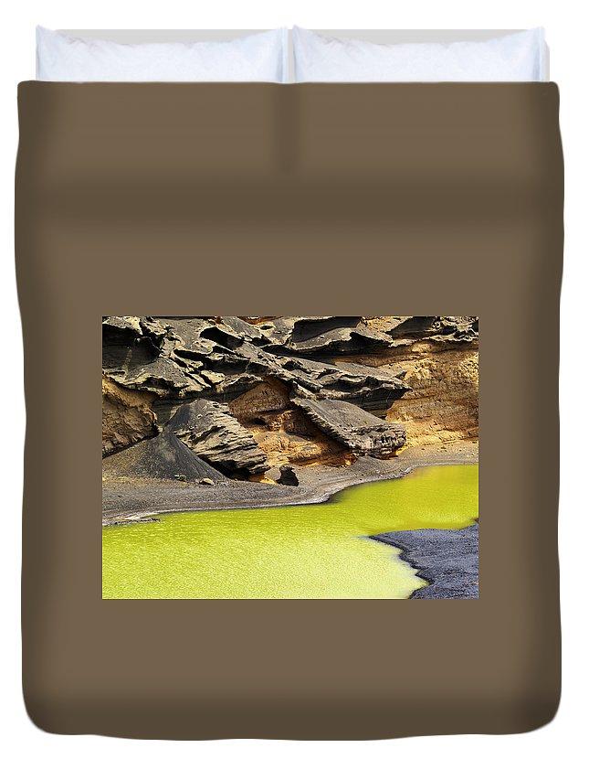Lake Duvet Cover featuring the photograph Green Lagoon On Lanzarote by Karol Kozlowski