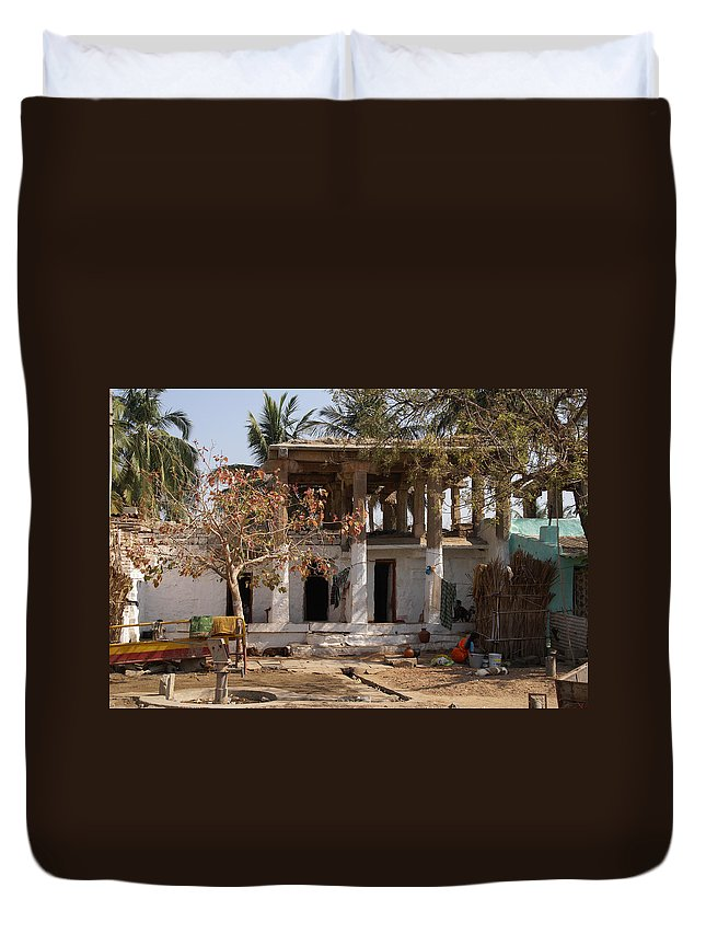 Children Duvet Cover featuring the digital art Hampi Bazaar by Carol Ailles