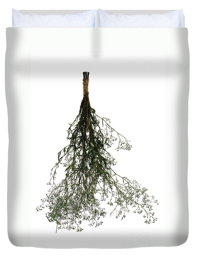 Flower Duvet Cover featuring the photograph Hanging Dried Flowers Bunch by Olivier Le Queinec
