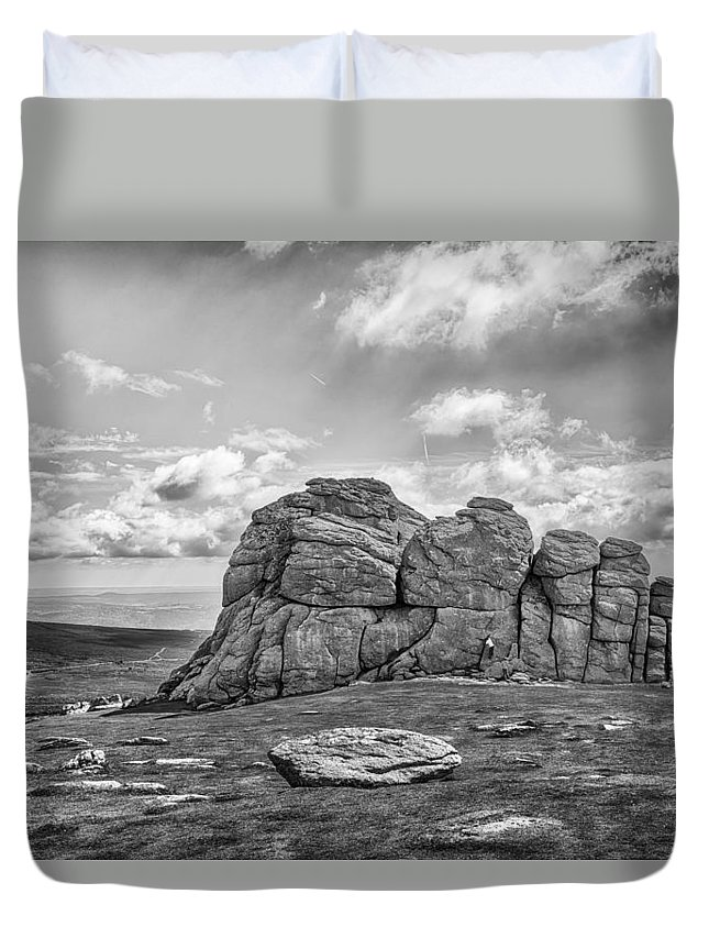 Rock Climbing Duvet Cover featuring the photograph Haytor Rock by Howard Salmon
