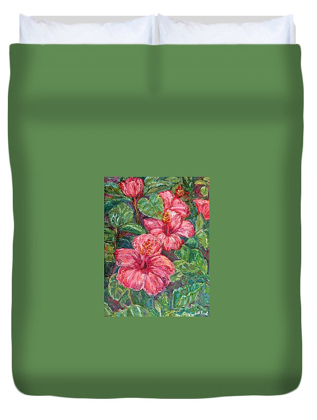 Hibiscus Duvet Cover featuring the painting Hibiscus by Kendall Kessler