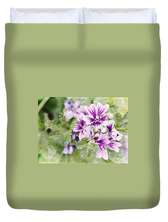 Flowers Duvet Cover featuring the photograph Hollyhocks by Pam Holdsworth