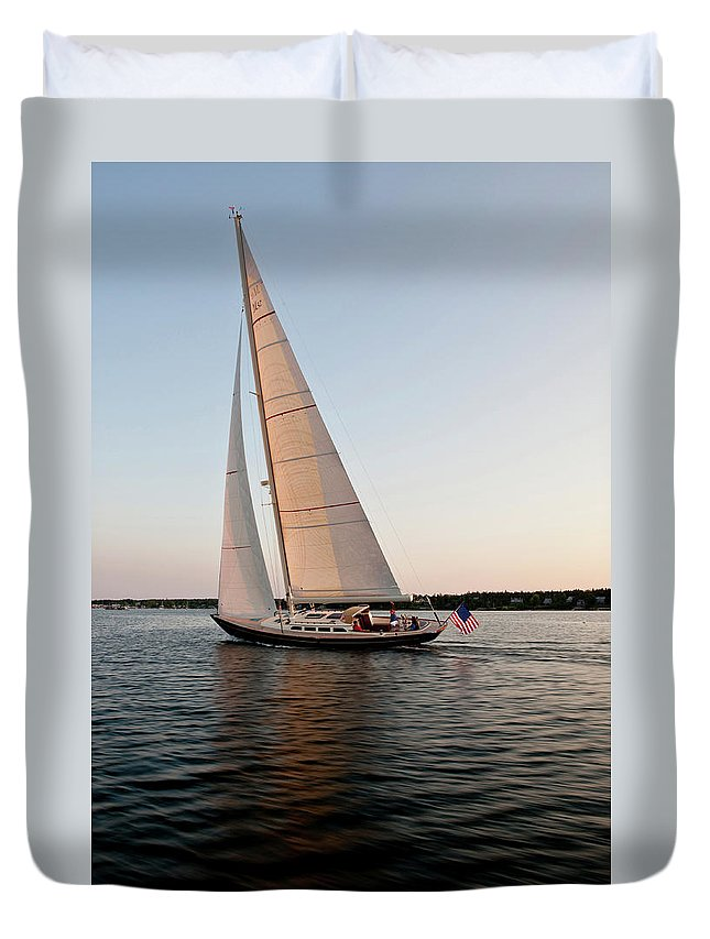Photography Duvet Cover featuring the photograph Hope M52 Yacht Sailing In Sea, Rhode by Panoramic Images