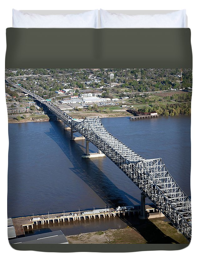 Aerial Duvet Cover featuring the photograph Horace Wilkinson Bridge by Bill Cobb