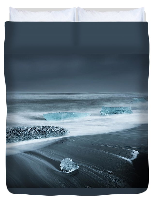 Water's Edge Duvet Cover featuring the photograph Iceland by Jeremy Walker