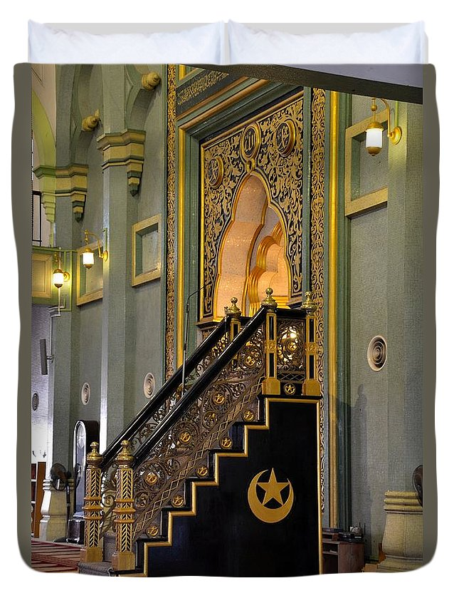 Mosque Duvet Cover featuring the photograph Imam Pulpit Sultan Mosque Singapore by Imran Ahmed
