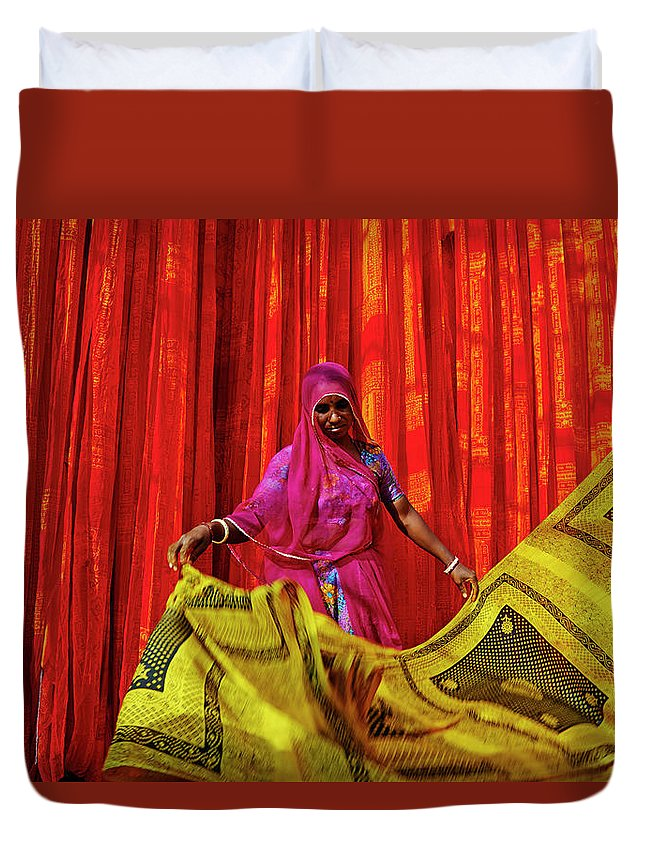 Working Duvet Cover featuring the photograph India, Rajasthan, Sari Factory by Tuul & Bruno Morandi