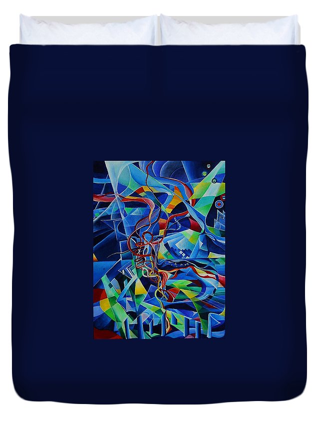 Johann Sebastian Bach Toccata And Fugue D Minor Acrylics Abstract Music Pens Gems Duvet Cover featuring the painting Inside The Cathedral by Wolfgang Schweizer