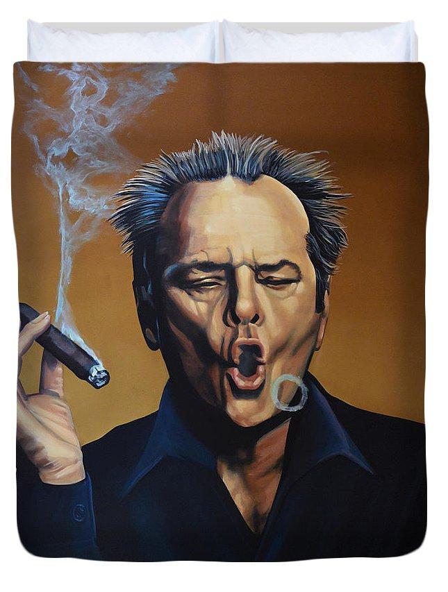 Jack Nicholson Duvet Cover featuring the painting Jack Nicholson Painting by Paul Meijering