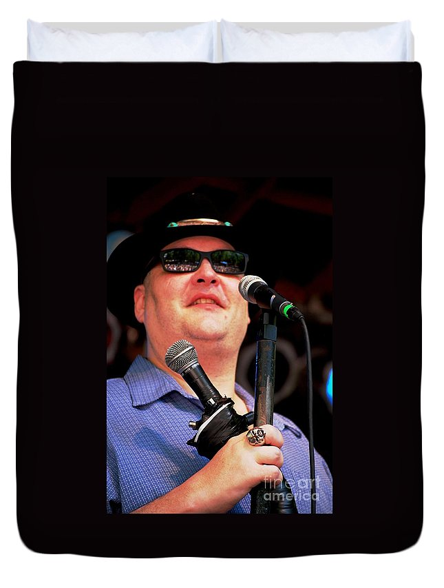 Music Duvet Cover featuring the photograph John Popper by Angela Murray