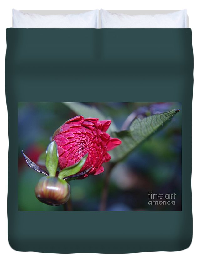 Flowers Duvet Cover featuring the photograph Just Before The Bloom by Jeff Swan