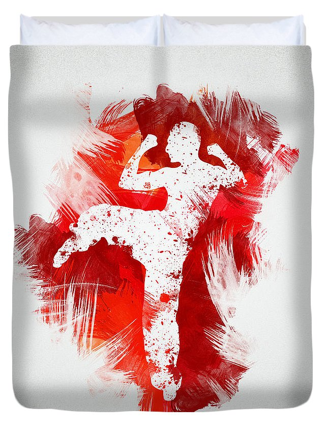 Action Duvet Cover featuring the digital art Karate Fighter by Aged Pixel