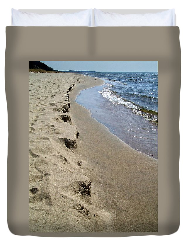 Lake Michigan Duvet Cover featuring the photograph Lake Michigan Shoreline by Michelle Calkins