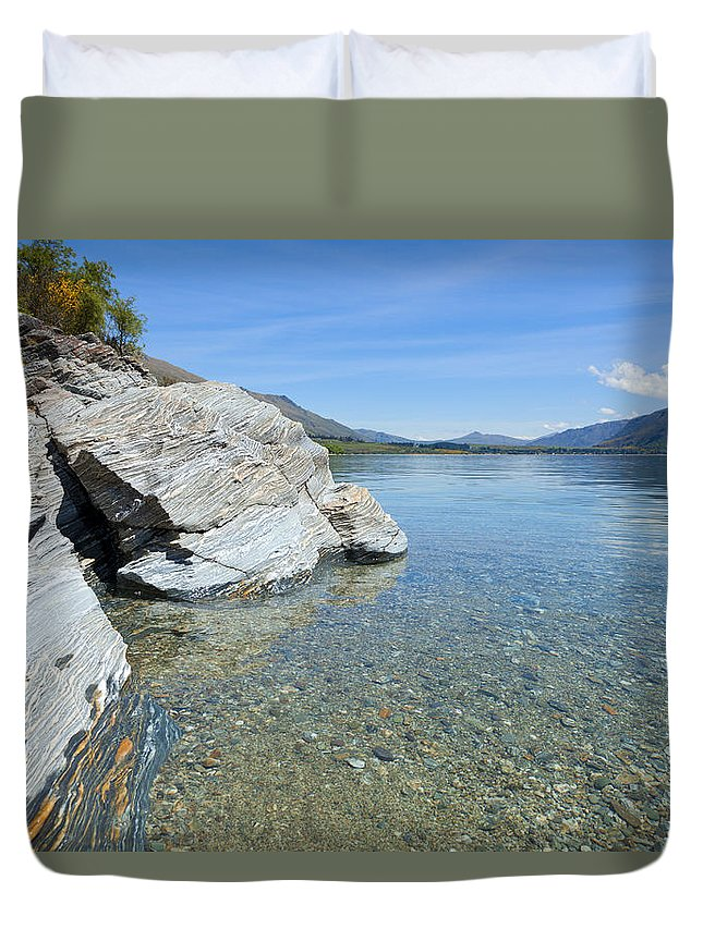 Blue Duvet Cover featuring the photograph Lake Shore by Alexey Stiop
