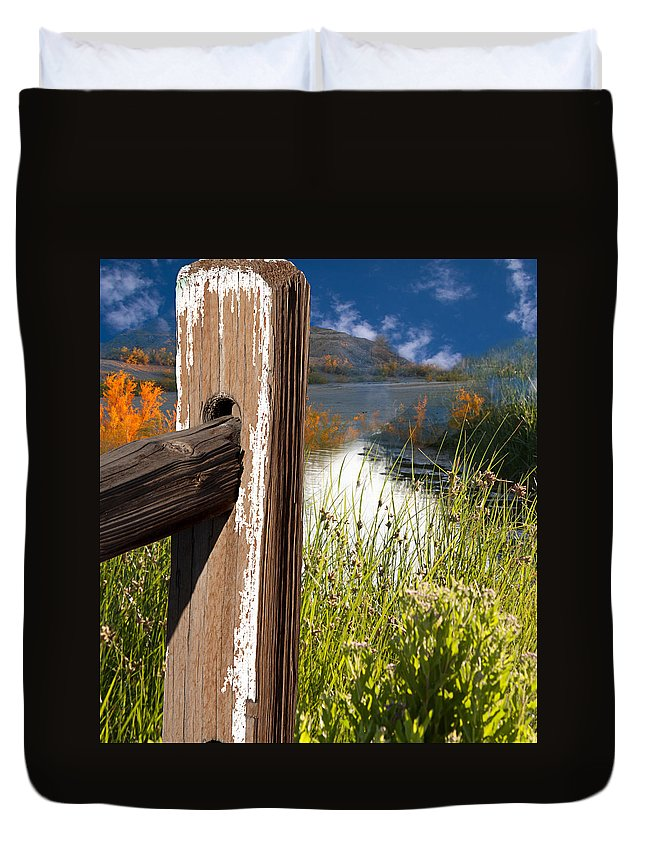 Agriculture Duvet Cover featuring the photograph Landscape With Fence Pole by Gunter Nezhoda