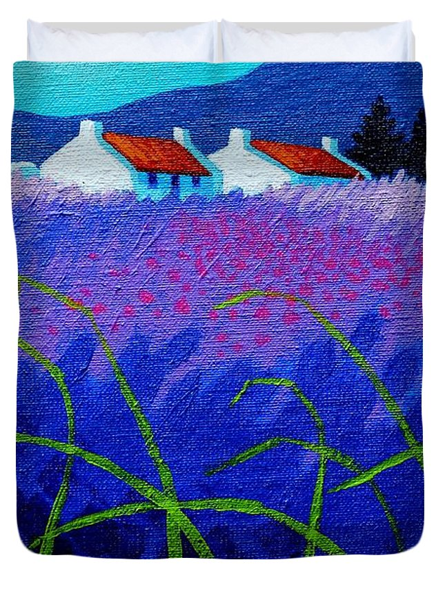Acrylic Duvet Cover featuring the painting Lavender Field by John Nolan
