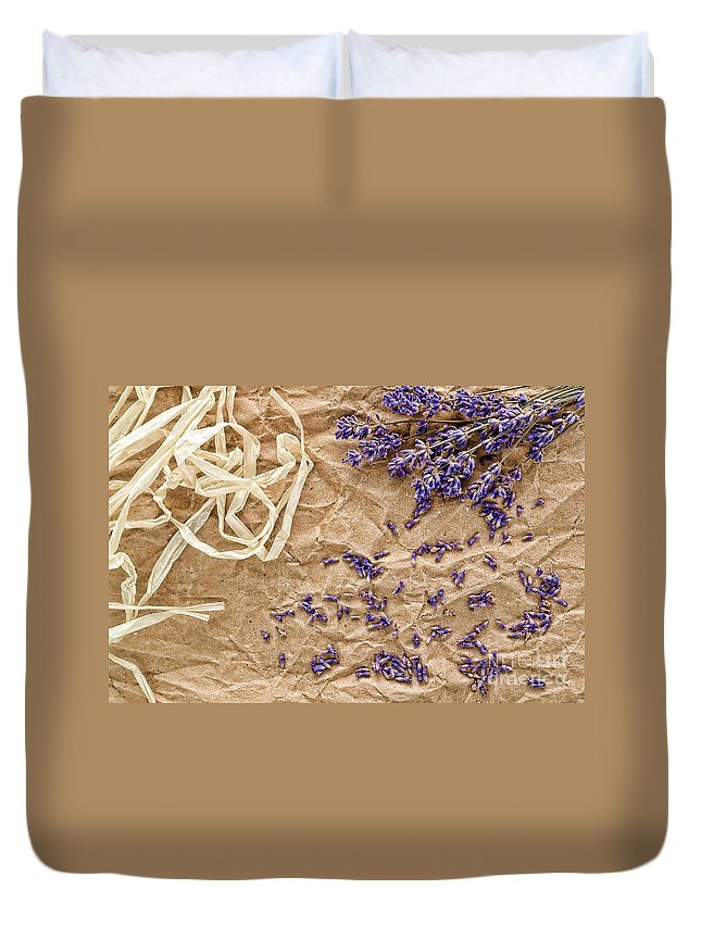 Aromatherapy Duvet Cover featuring the photograph Lavender Flowers And Seeds by Olivier Le Queinec