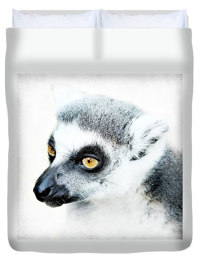 Animal Duvet Cover featuring the photograph Lemur by Heike Hultsch