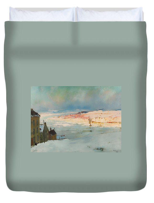 Painting Duvet Cover featuring the painting Levis From Quebec by Mountain Dreams
