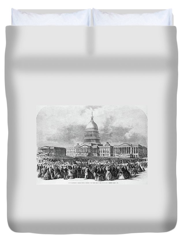 1865 Duvet Cover featuring the painting Lincoln Inauguration, 1865 by Granger