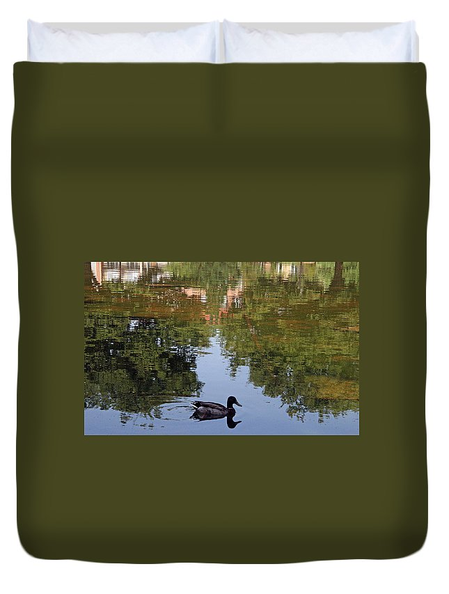 Duck Duvet Cover featuring the photograph Living In Reflections by Cora Wandel