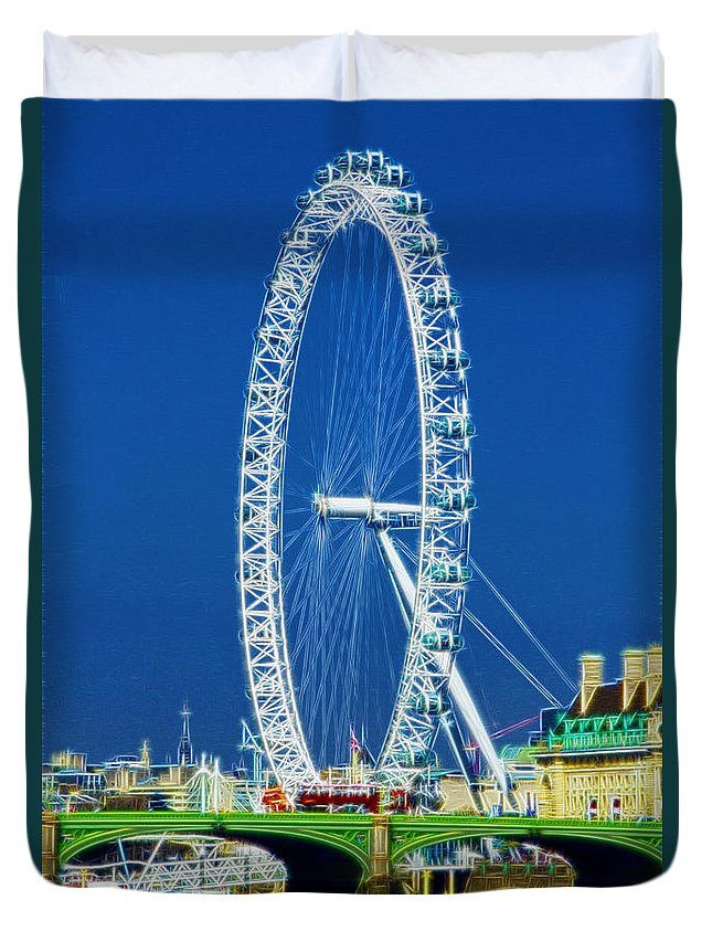 London Eye Duvet Cover featuring the photograph London Eye Westminster Bridge by David French