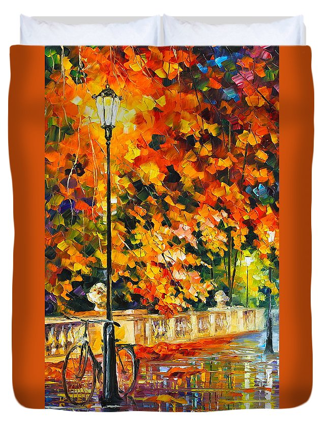Landscape Duvet Cover featuring the painting Lonely Bicycle by Leonid Afremov